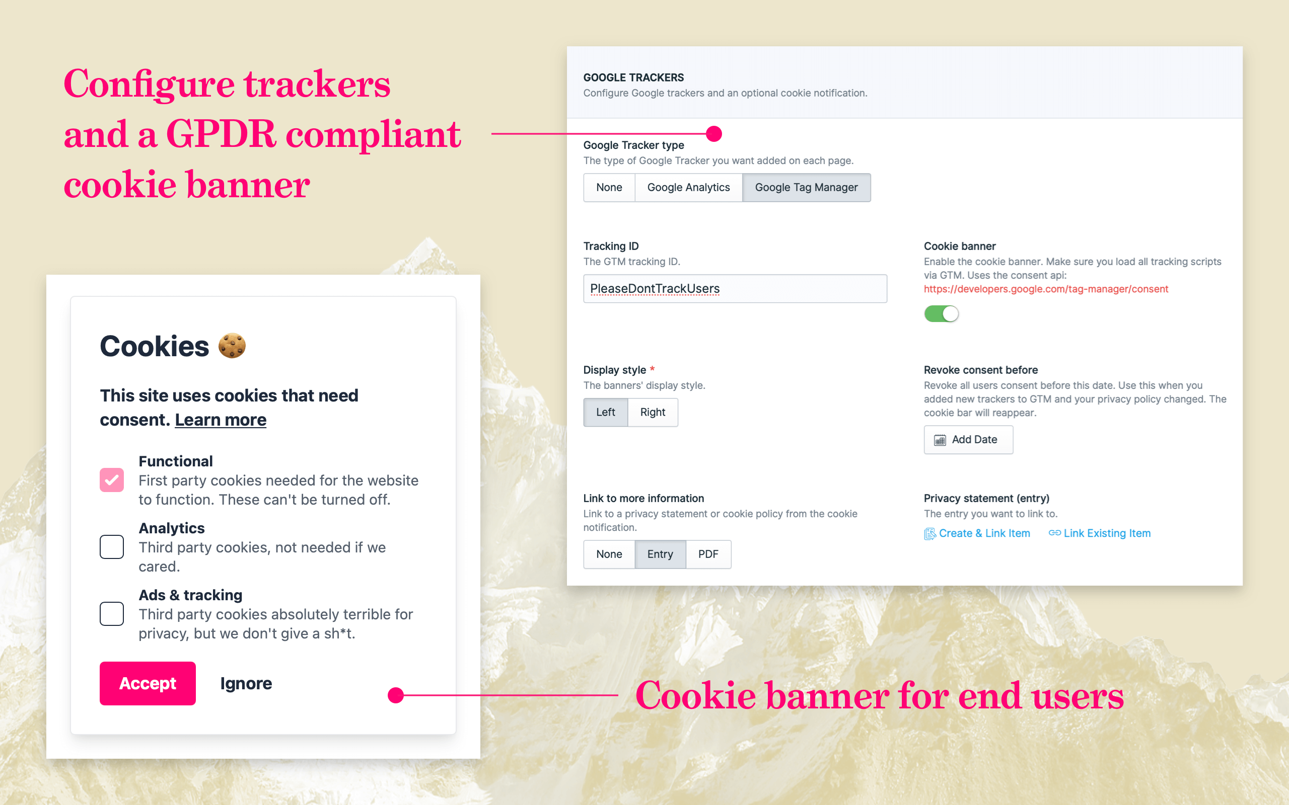 Configure trackers, add a GPDR compliant cookie banner.