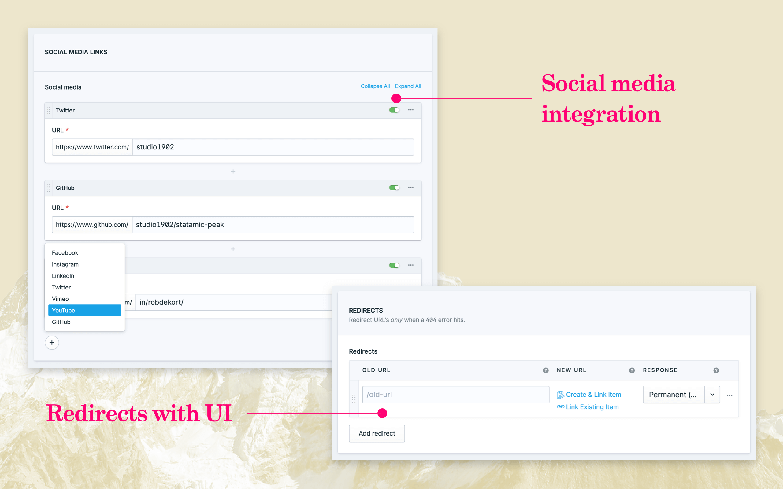 Social media integration and 301/302 redirects.